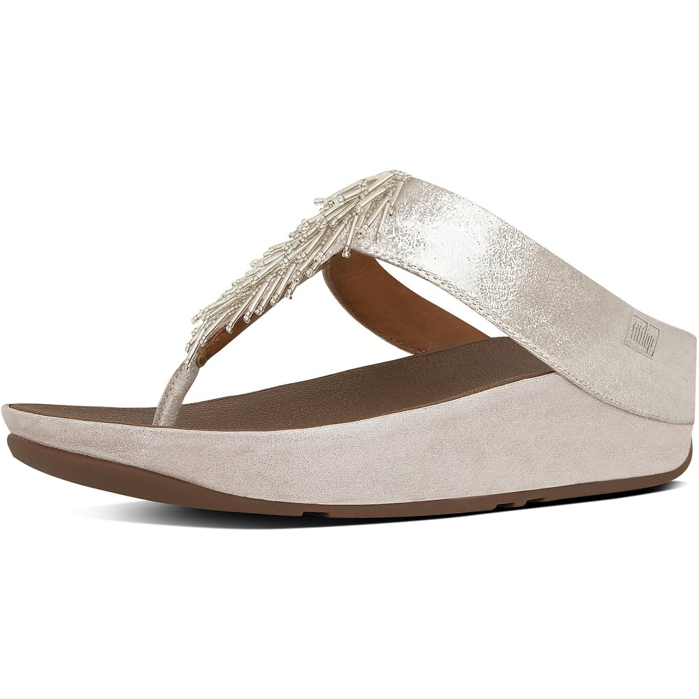 Image of FitFlop Australia METALLIC SILVER CHA CHA TOE-THONG SANDALS SILVER