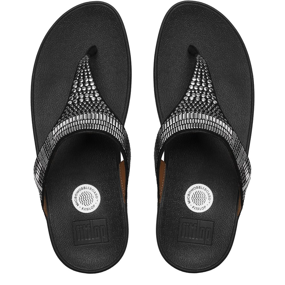 Image of FitFlop Australia BLACK AZTEK CHADA™ BLACK SILVER STONES