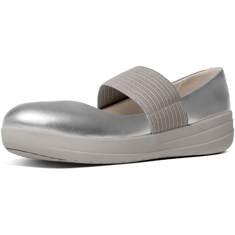 9fb07938194350 Image of FitFlop Australia METALLIC SILVER F-SPORTY™ MARY JANE SILVER