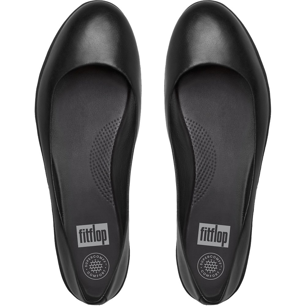 23f12d05c Image of FitFlop Australia ALL BLACK LEATHER SUPERBALLERINA™ ALL BLACK