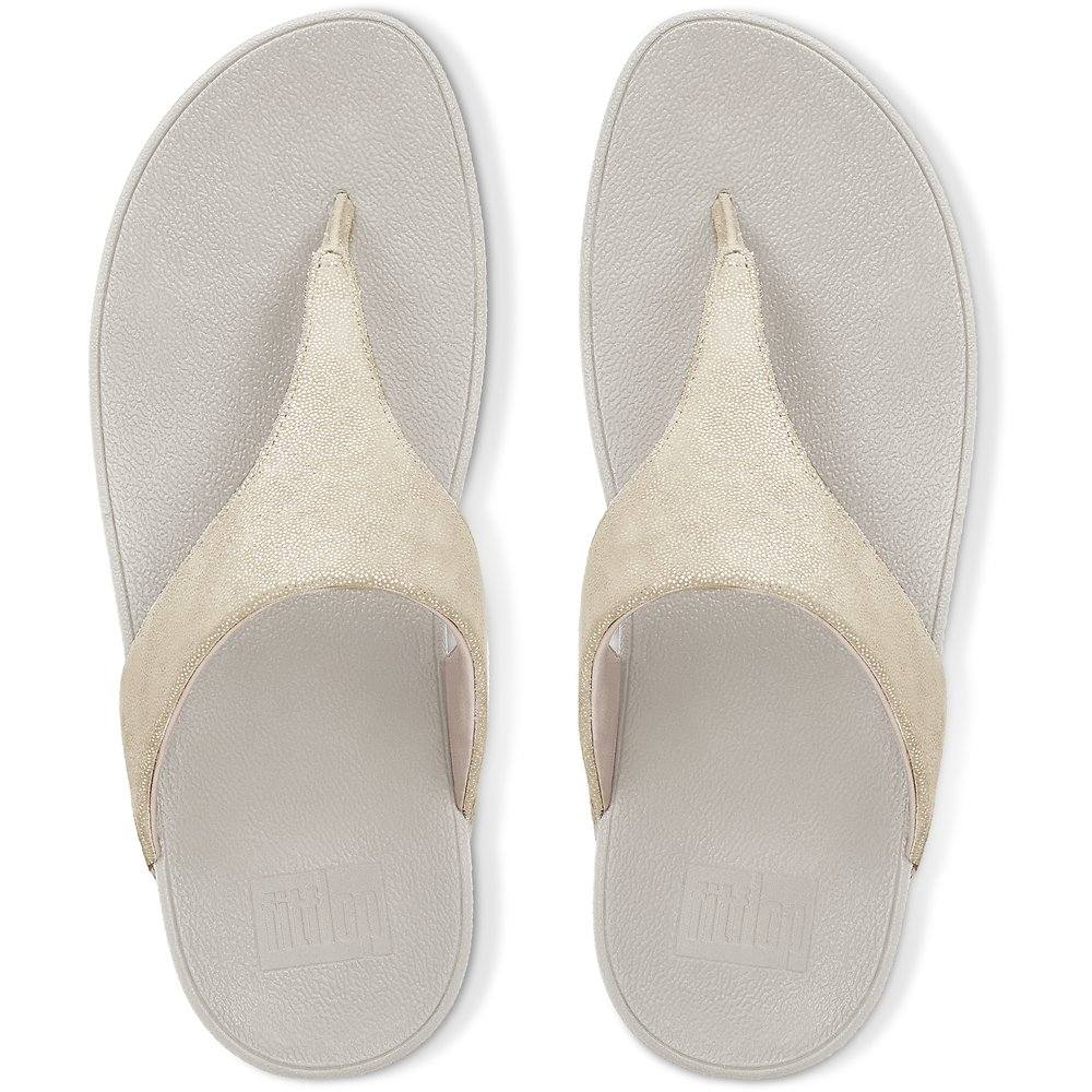 Image of FitFlop Australia PALE GOLD SHIMMY SUEDE TOE-THONG SANDALS PALE GOLD