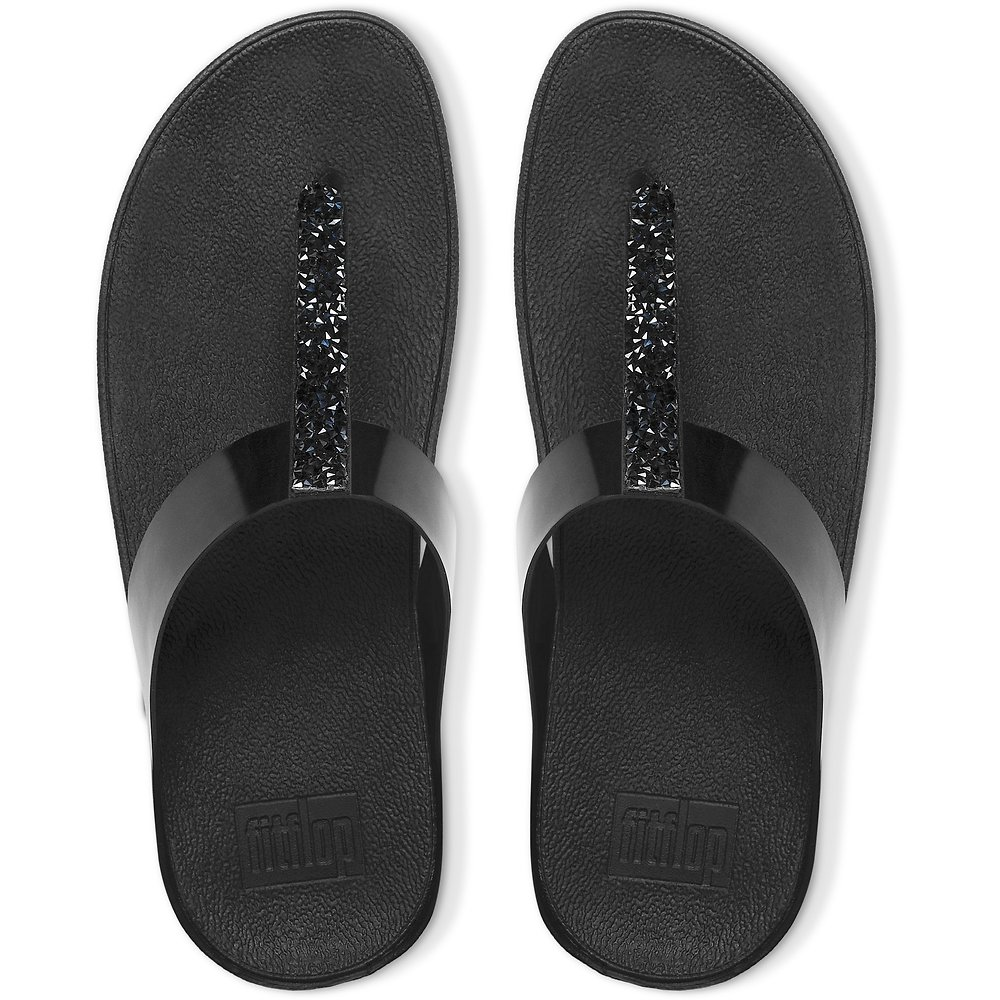 9a27ac1b4 Image of FitFlop Australia BLACK FINO TOE-THONG SANDALS BLACK