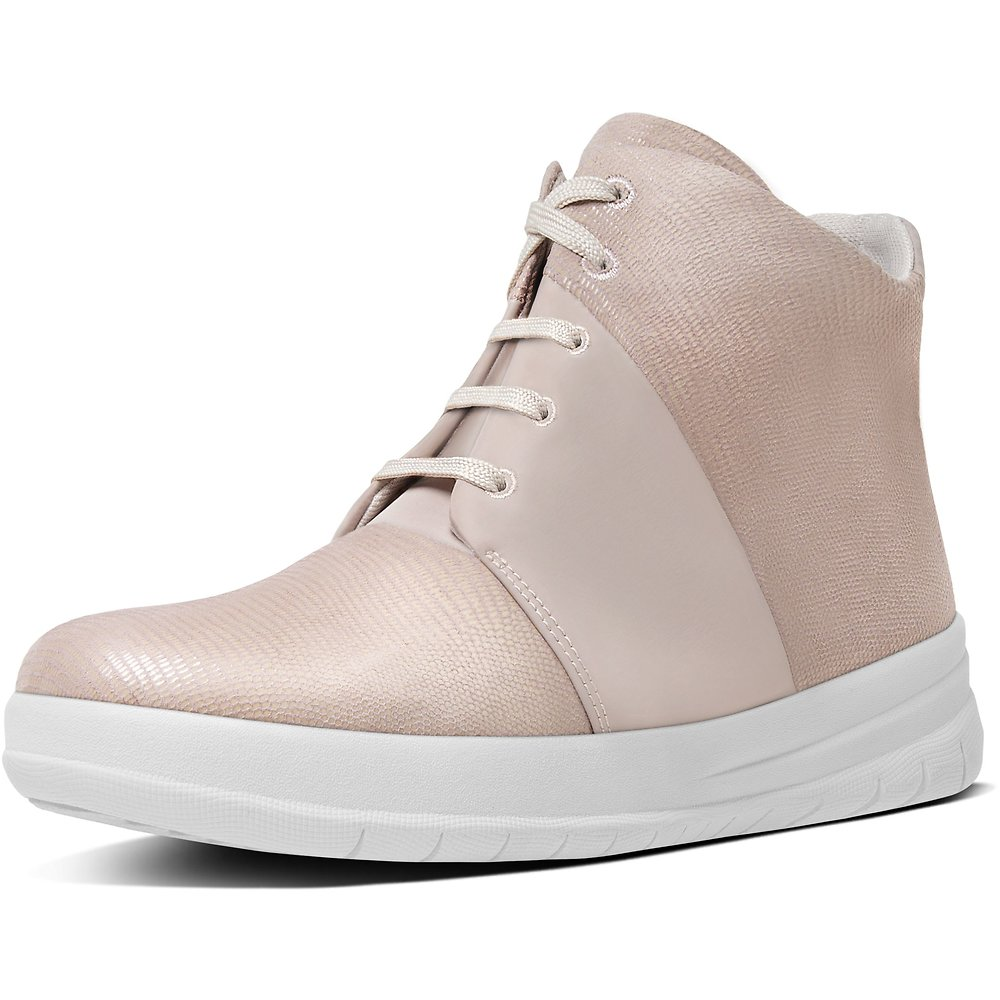 874d9b05a92 Image of FitFlop Australia NUDE PINK SPORTY-POP X HIGH-TOP LIZARD PRINT  SNEAKERS