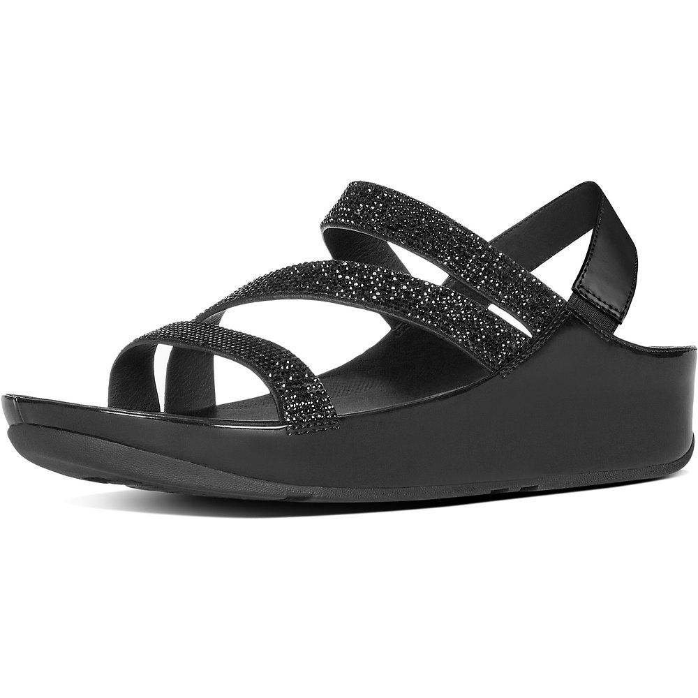 8405a3f33 Image of FitFlop Australia BLACK CRYSTALL Z-STRAP SANDALS BLACK