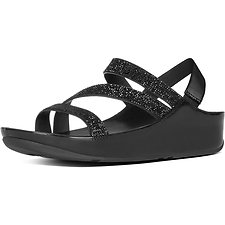 Image of FitFlop Australia BLACK CRYSTALL Z-STRAP SANDALS BLACK