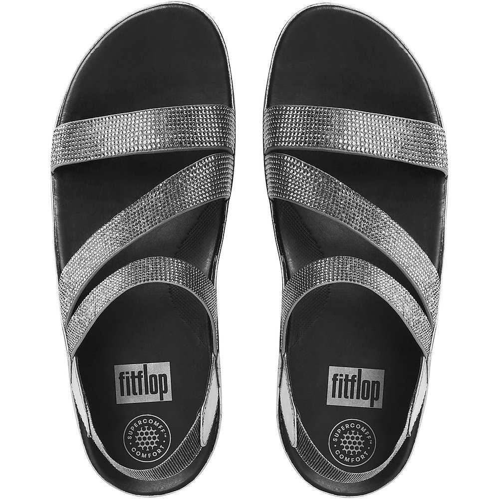 78153965c0317 Image of FitFlop Australia PEWTER CRYSTALL Z-STRAP SANDALS PEWTER