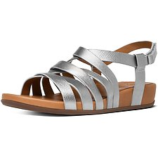 Image of FitFlop Australia METALLIC SILVER LUMY LEATHER GLADIATOR SANDALS SILVER