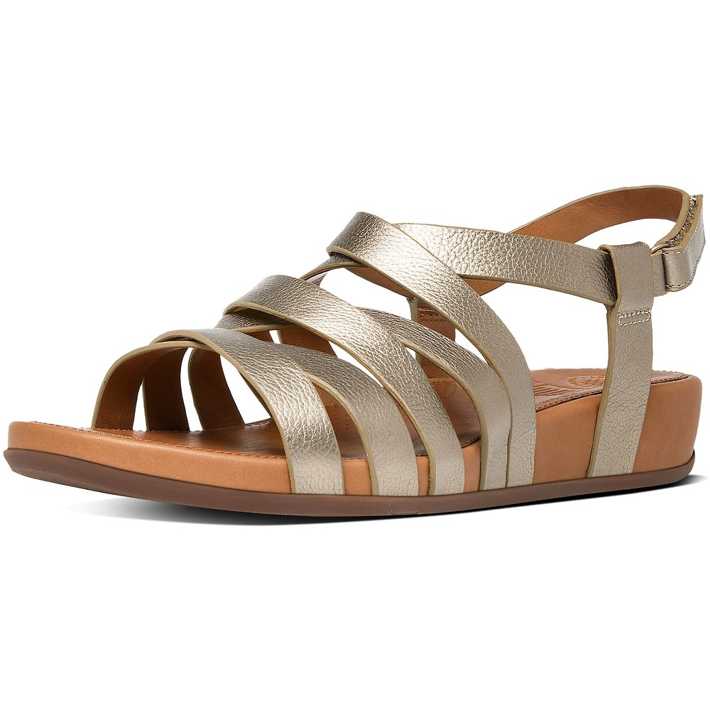 Image of FitFlop Australia PALE GOLD LUMY LEATHER GLADIATOR SANDALS PALE GOLD