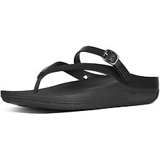 Picture of FLIP LEATHER TOE-THONG SANDALS ALL BLACK