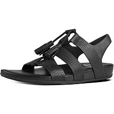 Image of FitFlop Australia ALL BLACK GLADDIE LACE-UP LEATHER SANDALS ALL BLACK