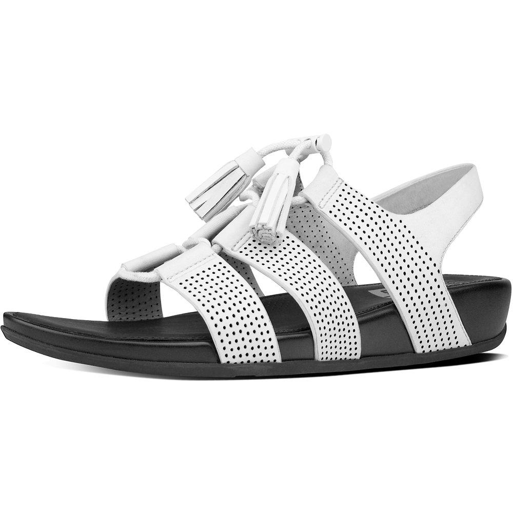 a29474dac54e5 Image of FitFlop Australia URBAN WHITE GLADDIE LACE-UP LEATHER SANDALS  URBAN WHITE