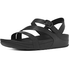 Image of FitFlop Australia ALL BLACK THE SKINNY Z-STRAP LEATHER SANDALS ALL BLACK