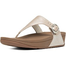 Image of FitFlop Australia SILVER SNAKE THE SKINNY TOE-THONG SNAKE EMBOSSED SANDALS SILVER SNAKE