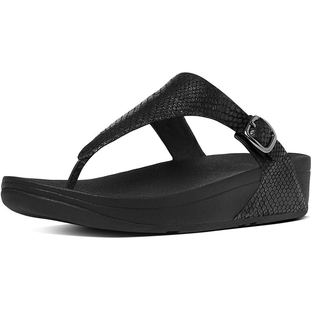 ed3f7c539f7a9f Image of FitFlop Australia BLACK SNAKE THE SKINNY TOE-THONG SNAKE EMBOSSED  SANDALS BLACK SNAKE