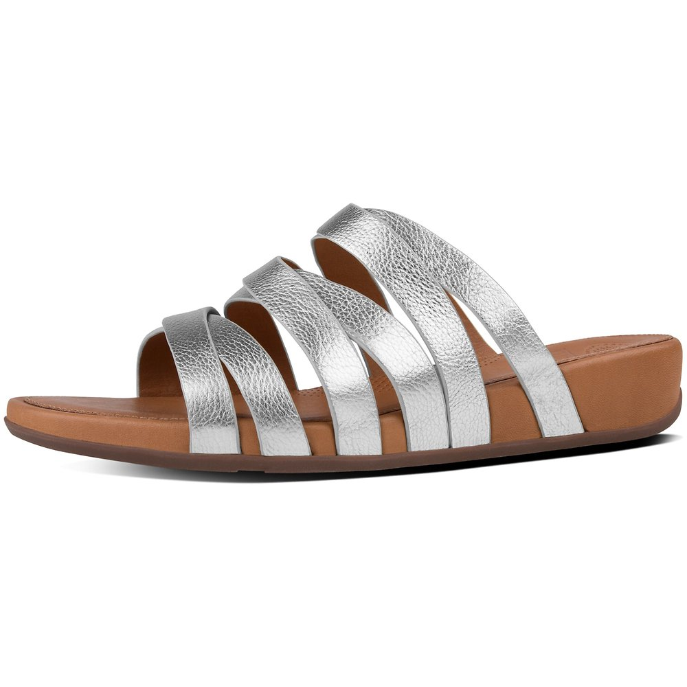1440253ce Image of FitFlop Australia METALLIC SILVER LUMY LEATHER CRISS-CROSS SLIDE  SANDALS SILVER
