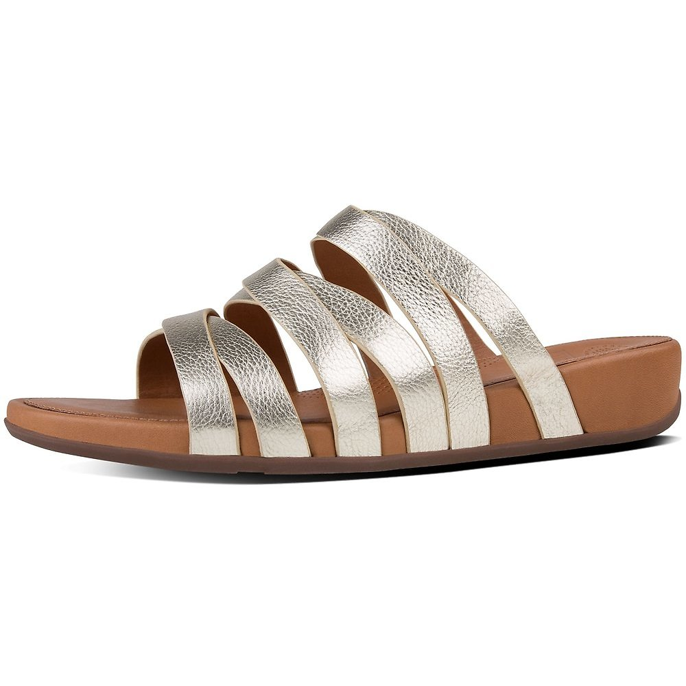 Image of FitFlop Australia PALE GOLD LUMY LEATHER CRISS-CROSS SLIDE SANDALS PLAE GOLD