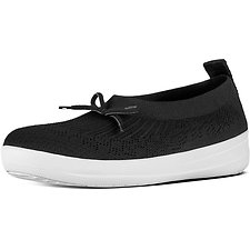 Image of FitFlop Australia BLACK UBERKNIT™ SLIP ON BALLERINA BOW BLACK