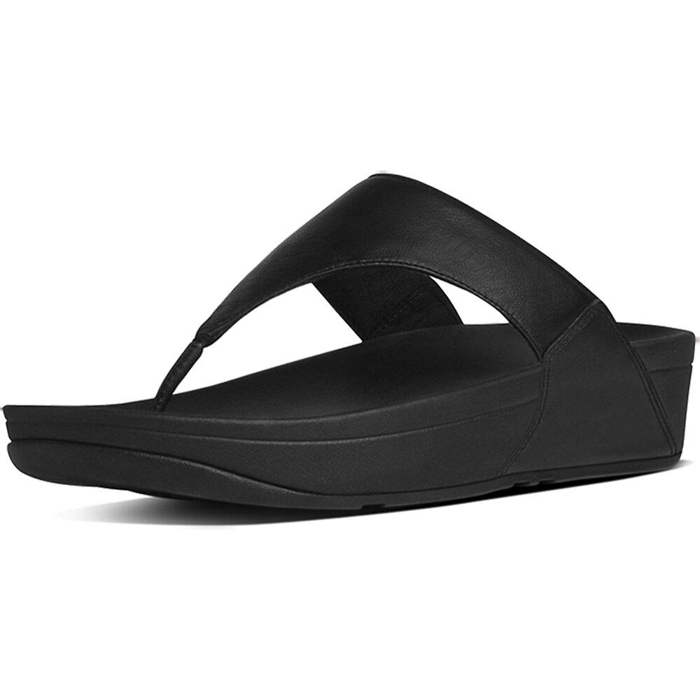 Image of FitFlop Australia BLACK LULU™ LEATHER TOEPOST BLACK