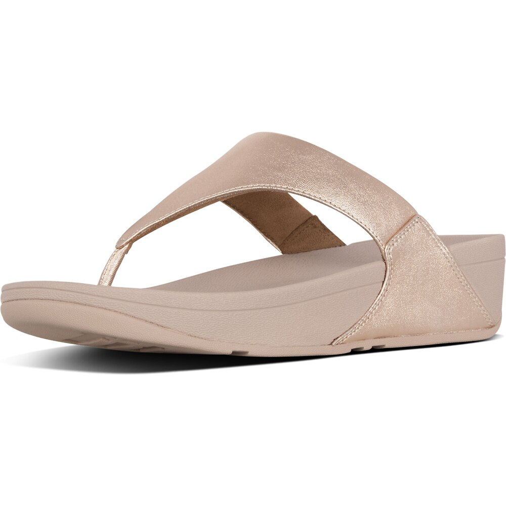 Image of FitFlop Australia ROSE GOLD LULU™ LEATHER TOEPOST ROSE GOLD