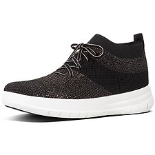 Image of FitFlop Australia BLACK/BRONZE METALLIC UBERKNIT™ HIGH TOP SNEAKER BLACK/BRONZE METALLIC