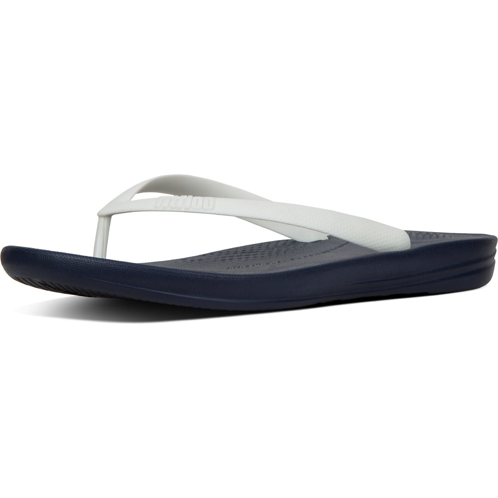 Image of FitFlop Australia WHITE/NAVY MEN'S IQUSHION™ ERGONOMIC FLIP-FLOPS WHITE/NAVY