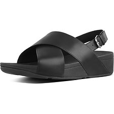 Image of FitFlop Australia BLACK LULU™ CROSS BACK-STRAP SANDALS LTHR BLACK