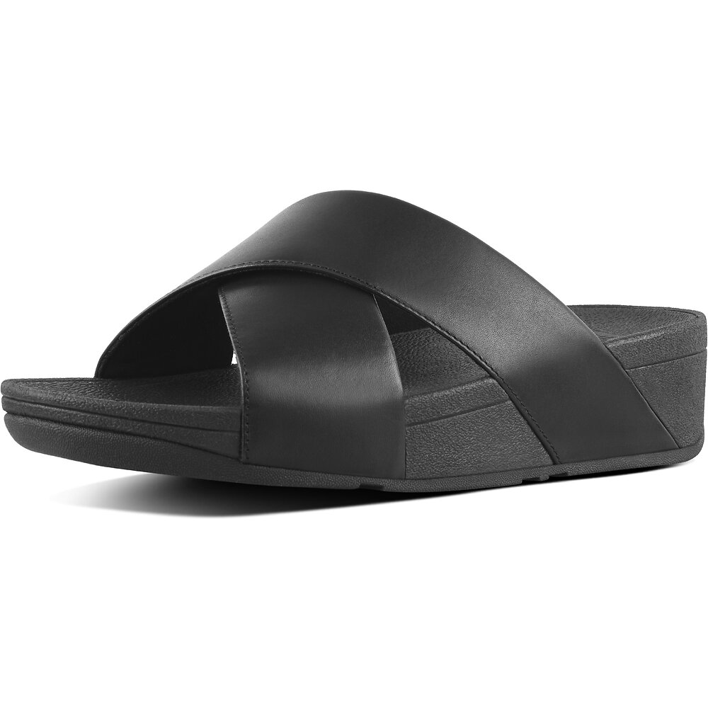 Image of FitFlop Australia BLACK LULU™ SLIDE LEATHER BLACK