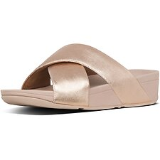 Image of FitFlop Australia ROSE GOLD LULU™ CROSS SLIDE LEATHER ROSE GOLD