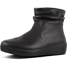 Image of FitFlop Australia BLACK SKATEBOOTIE™ LEATHER BLACK