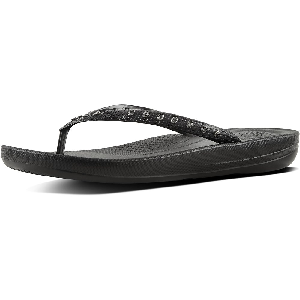 Image of FitFlop Australia BLACK IQUSHION™ FLIP FLOP JEWEL BLACK
