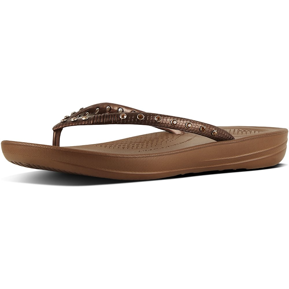 Image of FitFlop Australia BRONZE IQUSHION™ FLIP FLOP JEWEL BRONZE