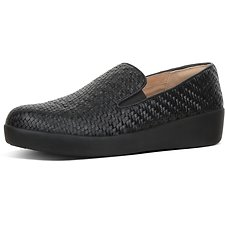 Image of FitFlop Australia BLACK SUPERSKATE™ LOAFERS WOVEN LEATHR BLACK