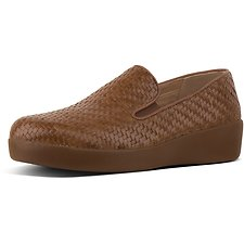 Image of FitFlop Australia COGNAC SUPERSKATE™ LOAFERS WOVEN LEATHR COGNAC