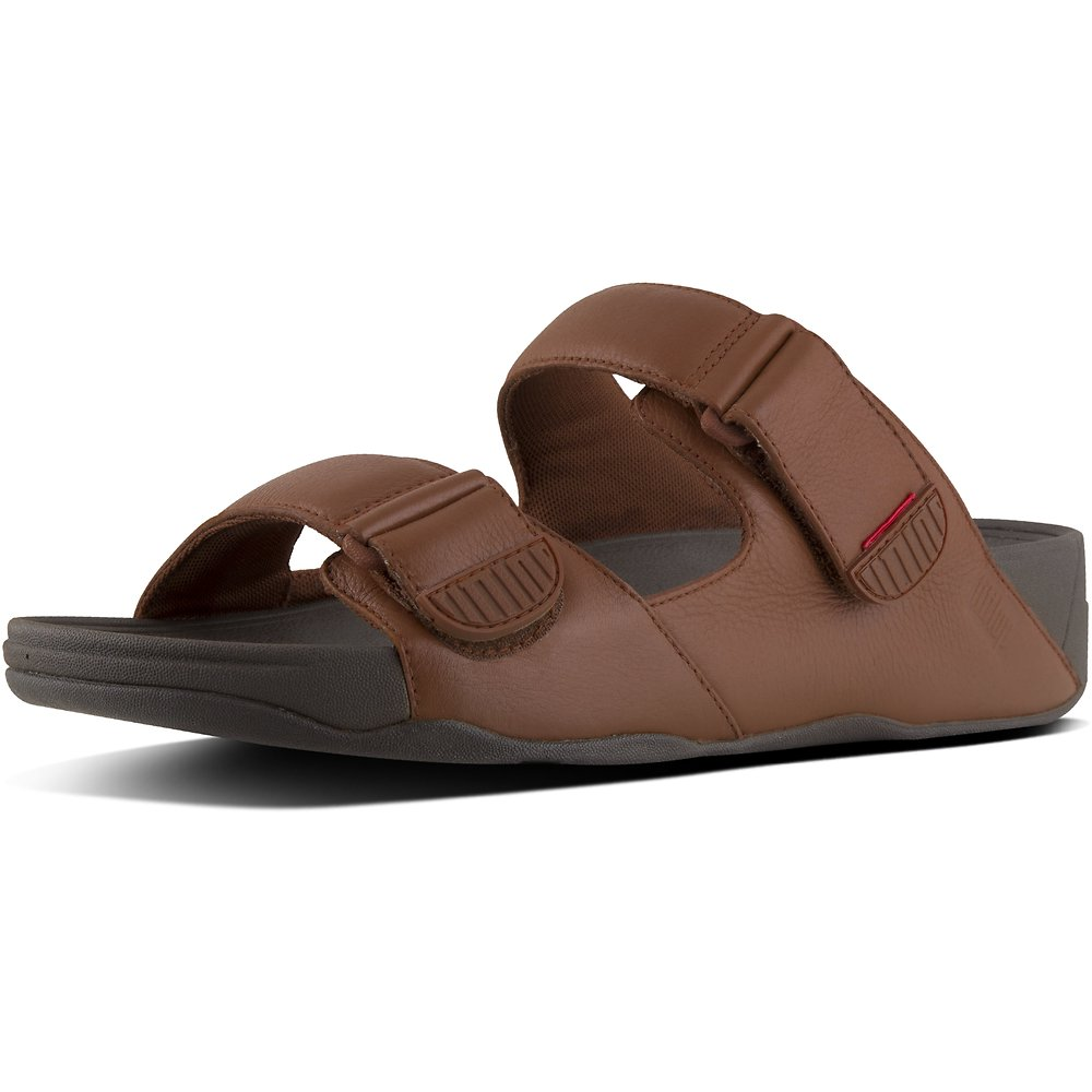 Image of FitFlop Australia DARK TAN MEN'S GOGH™ MOC LEATHER SLIDES DARK TAN