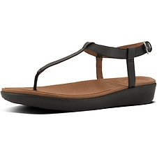 Image of FitFlop Australia BLACK TIA™ TOE-THONG SANDALS LEATHER BLACK
