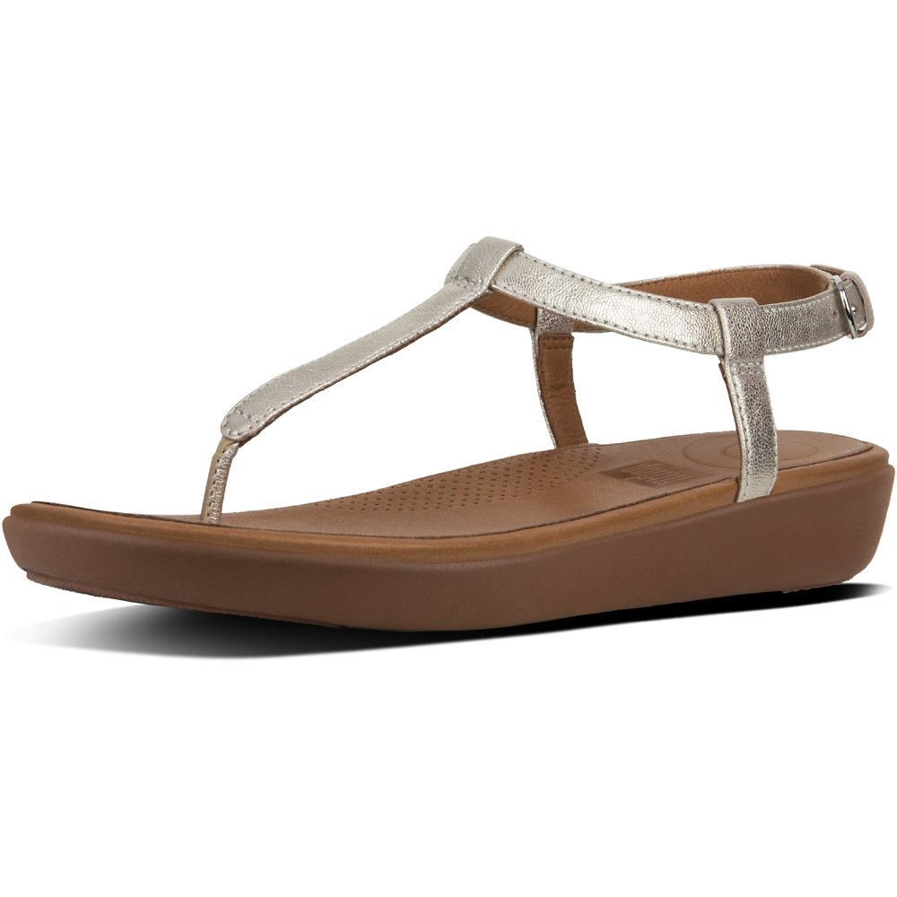 Image of FitFlop Australia METALLIC SILVER TIA™ TOE THONG SANDALS LEATHER SILVER