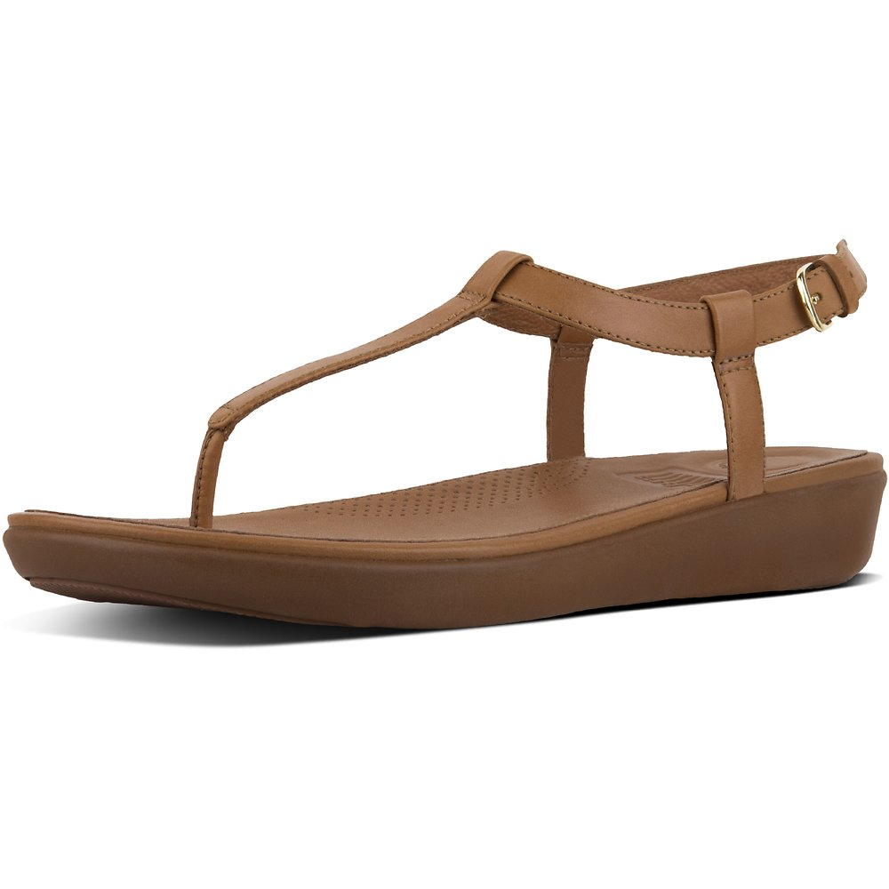 Image of FitFlop Australia CARAMEL TIA™ TOE THONG SANDALS LEATHER CARAMEL