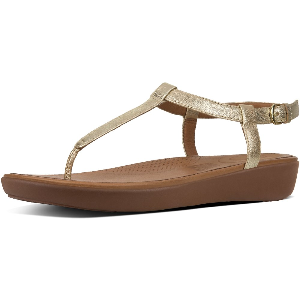 Image of FitFlop Australia PALE GOLD TIA™ TOE-THONG SANDALS LEATHER PALE GOLD