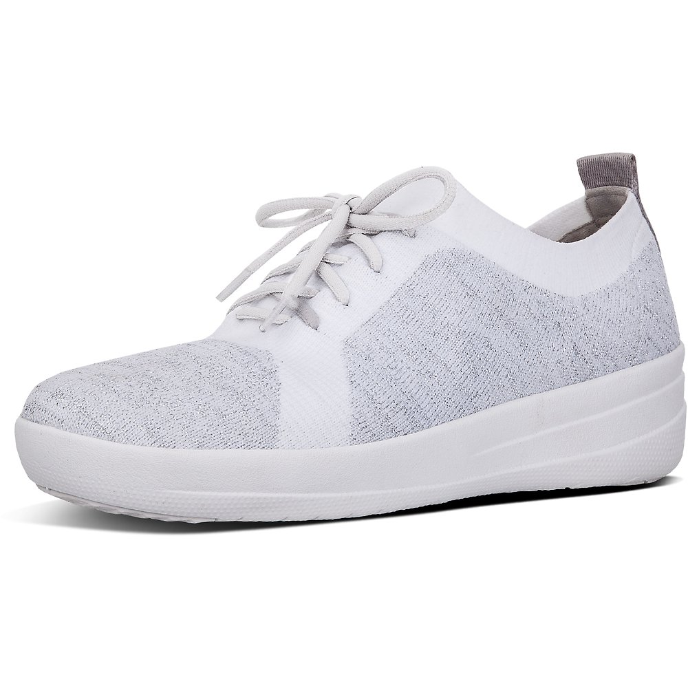 Image of FitFlop Australia SILVER/URBAN WHITE UBERKNIT™ LACE UP SNEAKER SILVER/URBAN WHITE