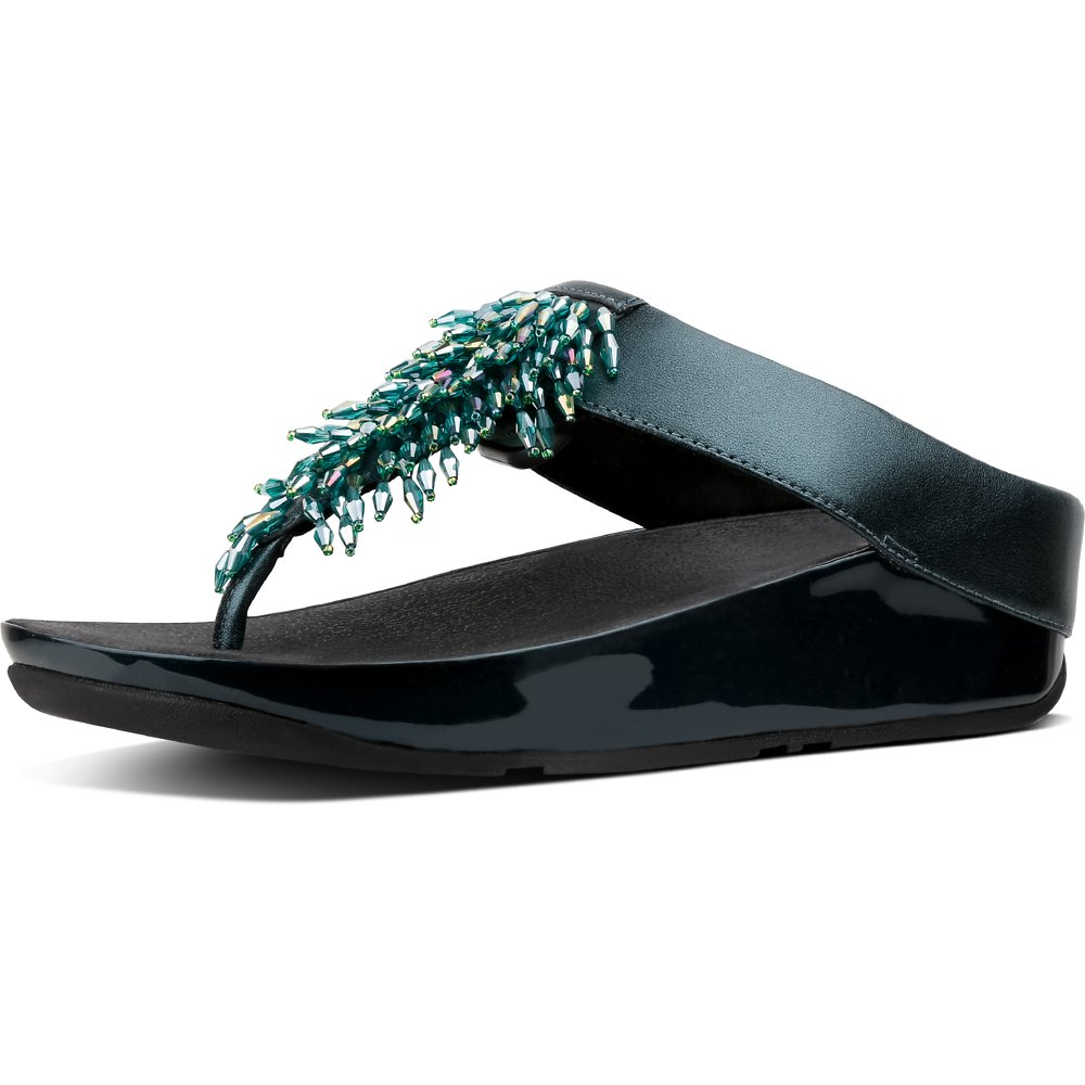 Image of FitFlop Australia GALACTIC GREEN RUMBA™ TOE POST GALACTIC GREEN