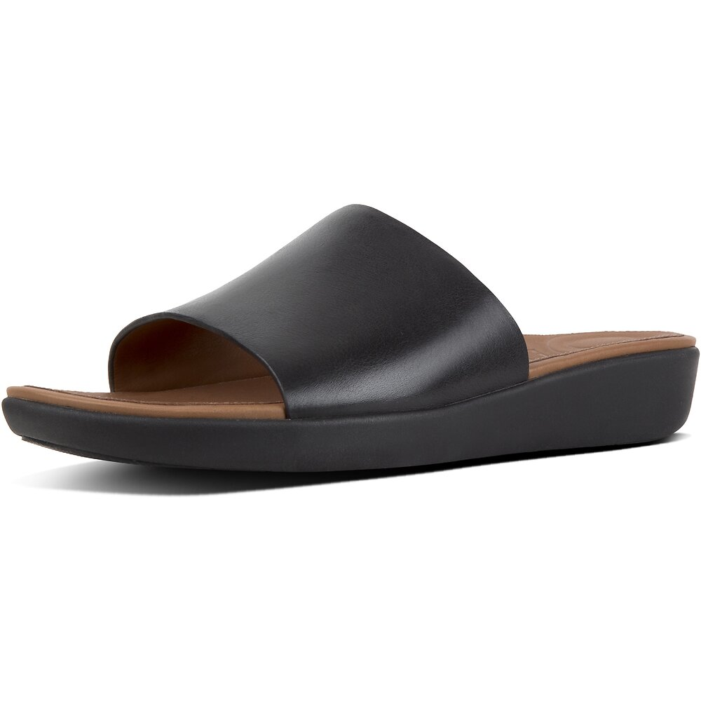 Image of FitFlop Australia BLACK SOLA™ SLIDES LEATHER BLACK