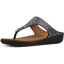 Image of FitFlop Australia BLACK QUARTZ BANDA II TOE POST BLACK