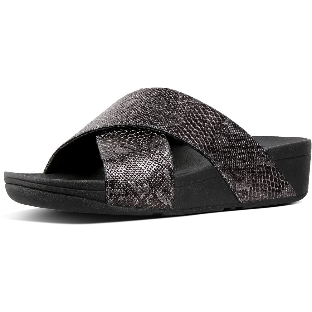 Image of FitFlop Australia BLACK EXOTIC LULU™ SLIDE BLACK