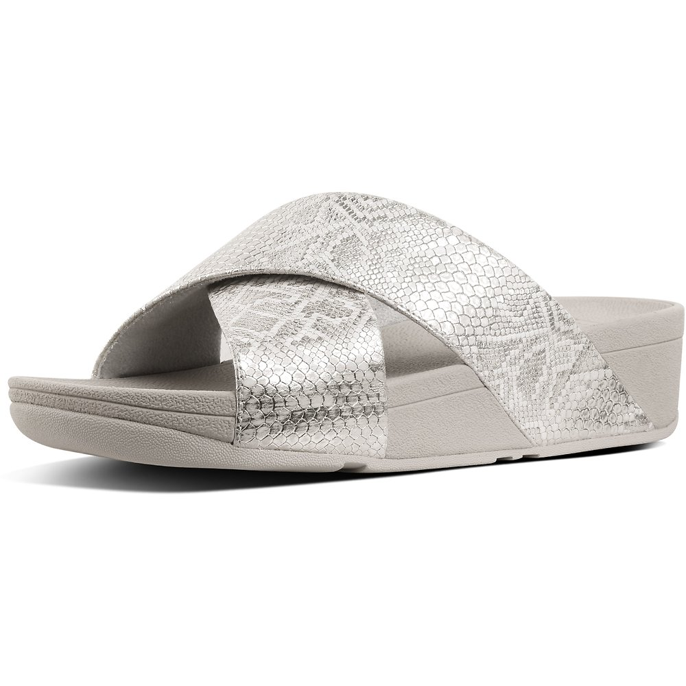 d7663609008 Image of FitFlop Australia URBAN WHITE EXOTIC LULU™ SLIDE URBAN WHITE