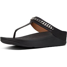Image of FitFlop Australia BLACK CHAIN FINO™ TOE POST BLACK