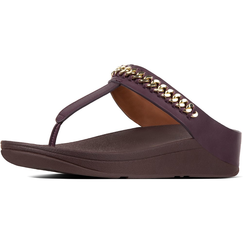 Image of FitFlop Australia DEEP PLUM CHAIN FINO™ TOE POST DEEP PLUM