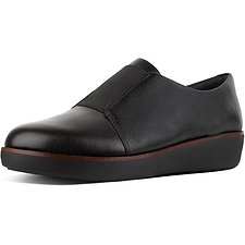 Image of FitFlop Australia BLACK LACELESS™ DERBY LEATHER SHOES BLACK