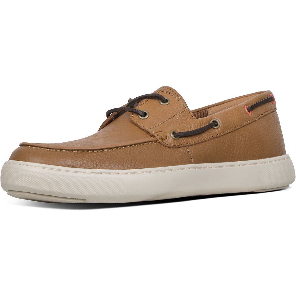 Image of FitFlop Australia LIGHT TAN MEN'S LAWRENCE™ LEATHER BOAT-STYLE SHOES LIGHT TAN