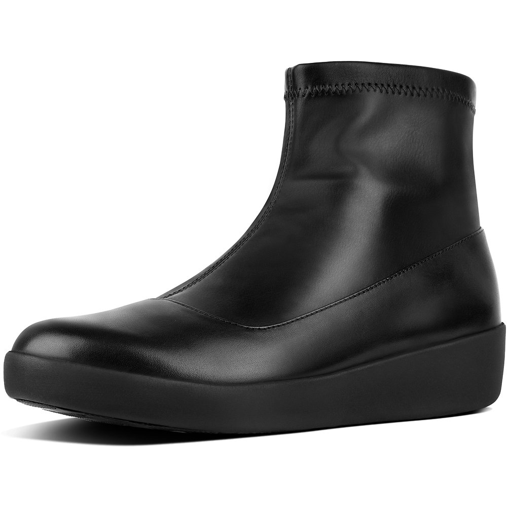 Image of FitFlop Australia BLACK OTTIE™ SOCK BOOTIES (FAUX-LEATHER) BLACK