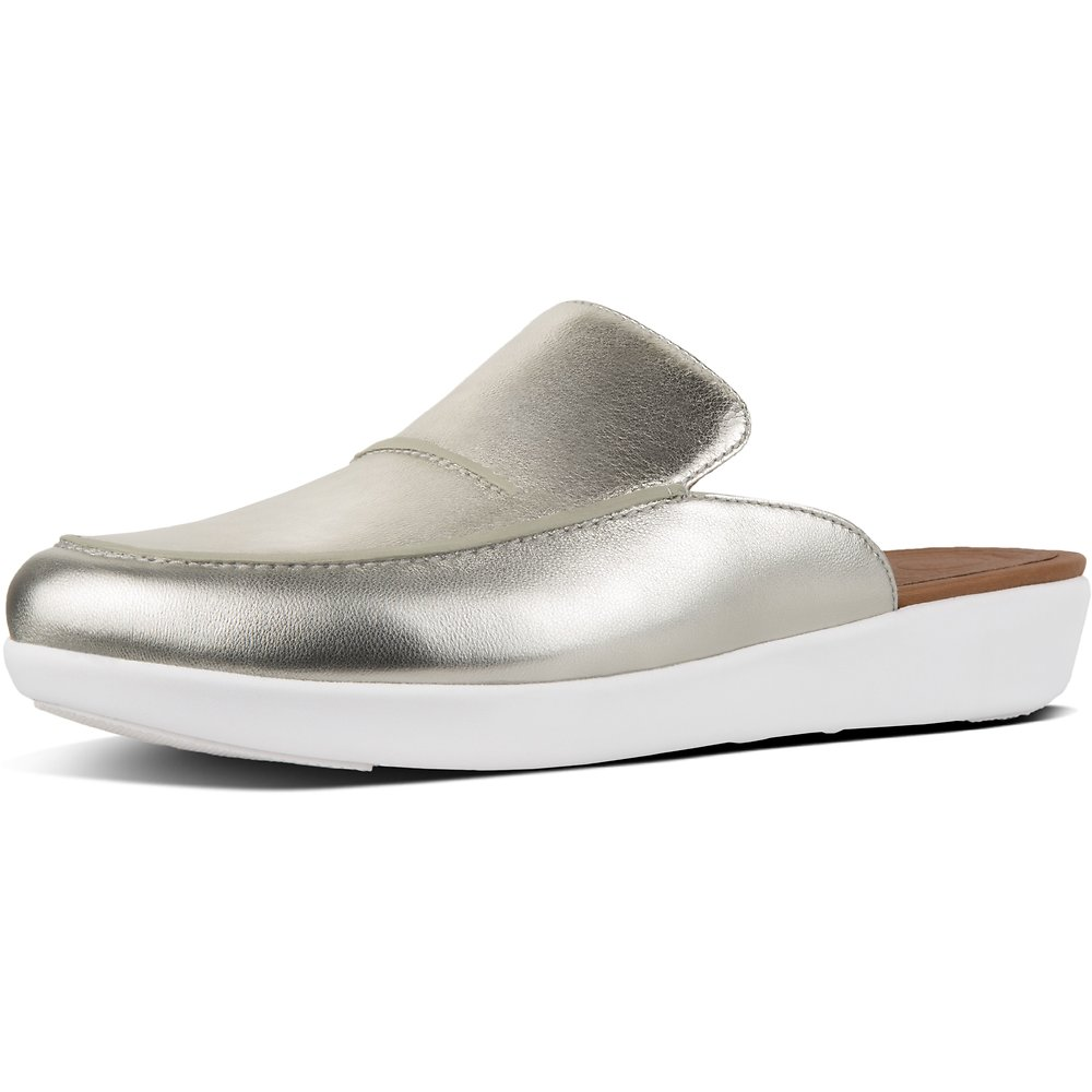 Image of FitFlop Australia METALLIC SILVER SERENE™ METALLIC LEATHER MULES SILVER
